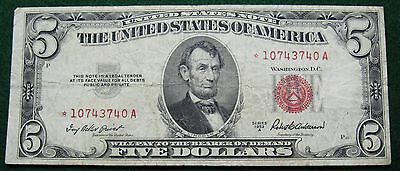 1953 A Five Dollar United States Star Note Grading Fine 3740A