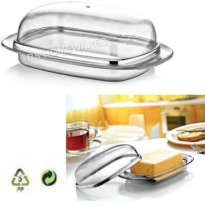Butter Dish With Lid Tray Holder Retro Serving Kitchen Storage Transparent Box