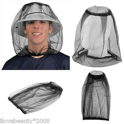 1PC Mosquito Hat Net Head Protector Bee Bug Mesh Insect Mozzie Fishing Fly Bla