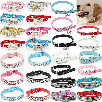 NT Bling Rhinestone PU Leather Crystal Diamond Puppy Collar Pet Dog Cat Collar