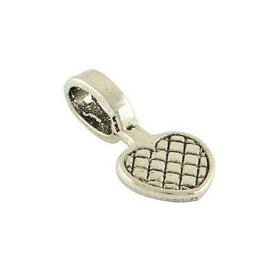 Packet 30 x Antique Silver Tibetan Heart Glue On Bails 10 x 20mm Y04285
