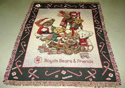 Boyds Bears Candy Cane Christmas Tapestry Afghan Throw