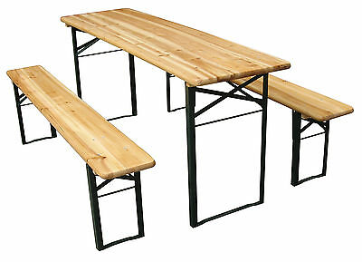 Outdoor Folding Wooden Beer Party Table with 2x Benches Garden Patio Drinks NEW