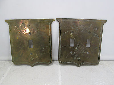 2 Vintage Etched Brass Light Switch Covers-Eagle w/Shield & Arrows #2