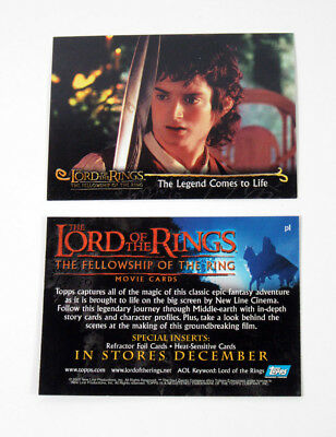 2001 Topps Lord of the Rings Fellowship of the Ring Promo Card (P1 Error) Nm/Mt