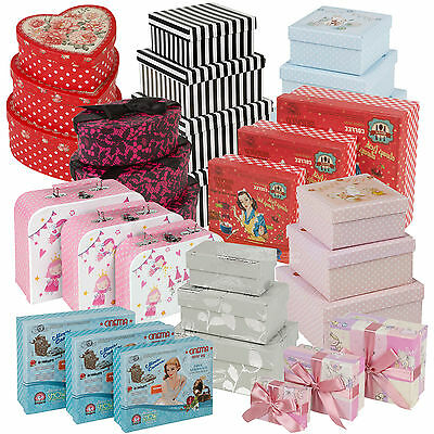 3 Pc Gift Set Storage Boxes Stackable Lidded Vintage Retro Present Baby Box Ring