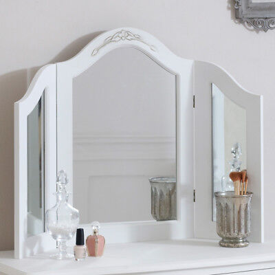 mirror white painted french country shaby chic distressed antique triple table