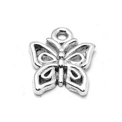 Packet of 30 x Antique Silver Tibetan 15mm Charms Pendants (Butterfly) ZX06390