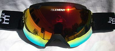NEW $140 5TH Element Stealth Black Winter Snow Ski Goggles red uvex smith Lens