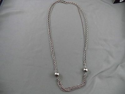 "Vintage Elegant Multi Strand Silvertone Beads Necklace 24"" Long Flapper Style"