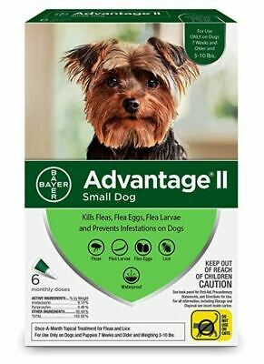 Advantage II For Small Dogs 3-10 lbs, Green 6 Pack