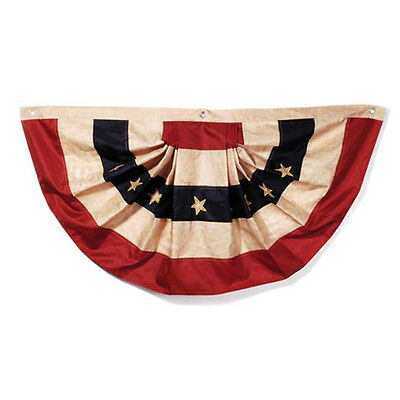 "American Flag Bunting - 2 FT X 4 FT - Tea Stained Nylon - 24"" X 48"" Patriotic"