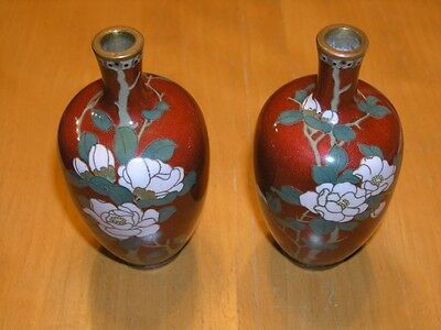 Pair Antique Japanese Early Meiji Period Silver Wire Miniature Cloisonne Vases