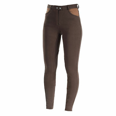 Horze Ladies English Jennie Self Patch Breathable Contoured Breeches Brown SALE