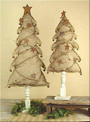 BURLAP CHRISTMAS TREE ON WOOD SPINDLE BASE WITH RUSTIC STARS JINGLE BELLS 2 pc