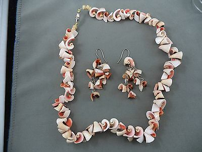 Pretty Pink Brown Tone Polished Shell Seashell Necklace & Earring Set