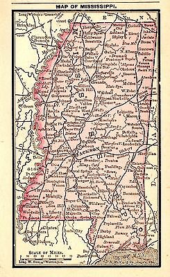 RARE Antique MISSISSIPPI Map 1886 MINIATURE Map of Mississippi Gallery Wall 2961