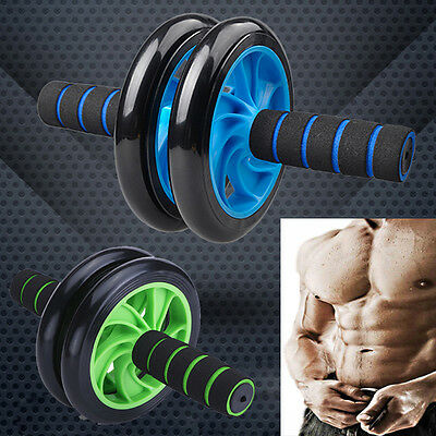 New AB Abdominal Waist Workout Exercise Gym Fitness Wheel Roller Wheels Knee Pad