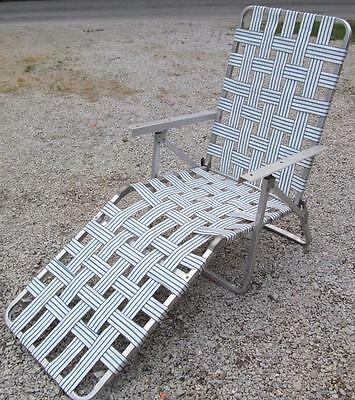 Vintage Aluminum Webbed Reclining Beach Sun Chaise Lounge Folding Armed  Chair