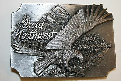 Vintage 1991 Great Northwest Rocky Mountains Eagle Brass Belt Buckle #467/1500
