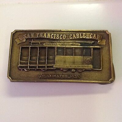 Vintage 1976 Solid Brass San Francisco Cable Car Belt Buckle Powell Mason St