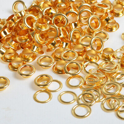 100 Sets Gold Eyelet 4/5/6/8/10mm w/Washer Grommets Scrapbooking Leather Craft