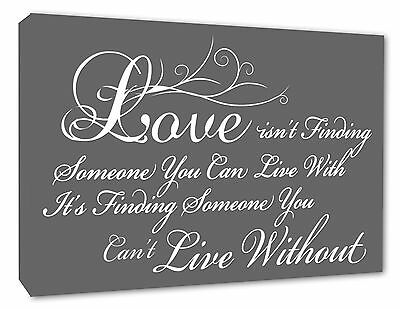 Love Quote Wall Art Picture Love Isnt Finding Grey Wall Decor Canvas Print 036