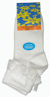 3 Pairs New Sz 2-8 White Lace Turn Over Ankle Socks