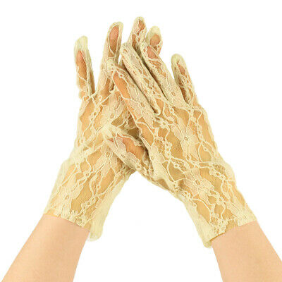 Sexy Floral Sheer Lace Tea Party Vintage Style Short Wrist Dressy Gloves