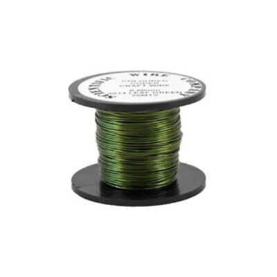 1 x Green Plated Copper 0.5mm x 15m Round Craft Wire Coil W5014