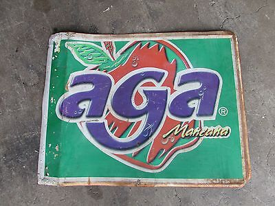Old Aga Sign- Metal-Mexican-Restaurant Bar-Antique-Vintage-23x18-Soda