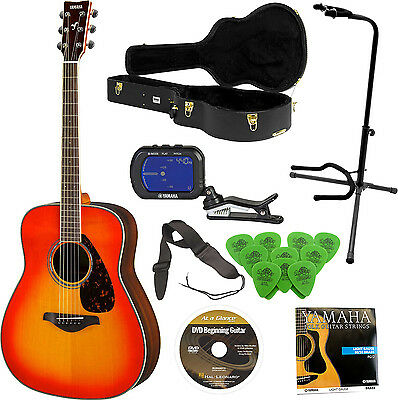 YAMAHA FG830 Guitar w/ Tripod Stand & Clip-On Chromatic Tuner Bundle
