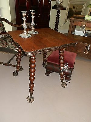 Wonderful Antique Tiger Oak Parlour Table W/Turned Legs and Glass Ball Claw Feet