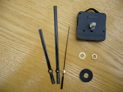 QUARTZ CLOCK MECHANISM LONG SPINDLE. 130mm BLACK HANDS