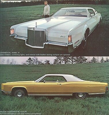 1972 Lincoln Mark IV Continental Town Car NOS Brochure