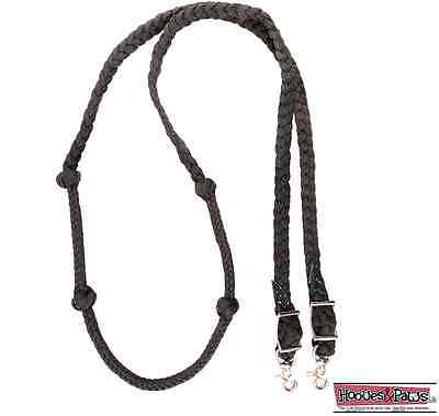 Martin Saddlery Black Barrel Reins with Braided Knots Horse Tack Roping