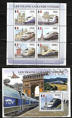 Comoro Islands 1019-20 French Trains Mint NH