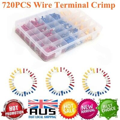720Pcs Assorted Insulated Electrical Wire Terminal Crimp Spade Connector Kit Box