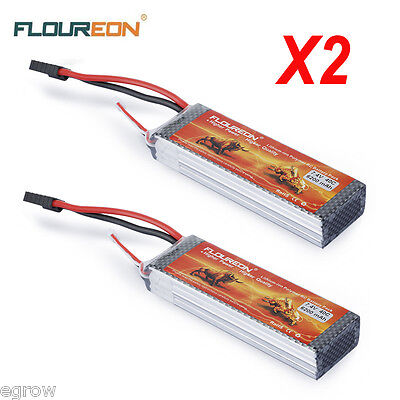 2x 6200mAh 40C 7.4V 2S LiPo Battery Pack TRX Plug for RC Helicopter Car Hobby