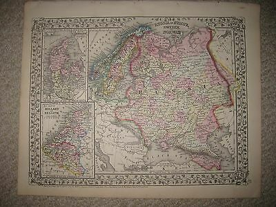 Antique 1871 Russia In Europe Denmark Norway Sweden Mitchell Map Vine Border Nr