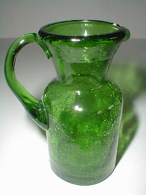 Kanawha Emerald Green Crackle Glass Creamer/Pitcher w Applied Handle