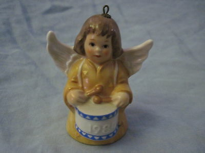 1984 Goebel ANGEL BELL ORNAMENT Yellow With Drum FREE SHIPPING