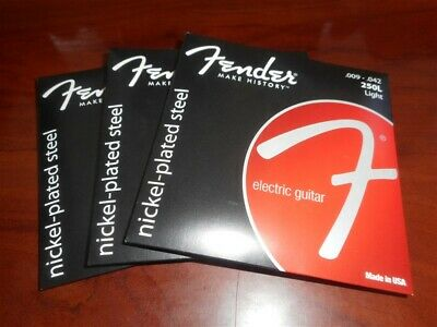 3 SETS! Fender 250L Nickel Plated Electric Guitar Strings 9-42, 073-0250-403