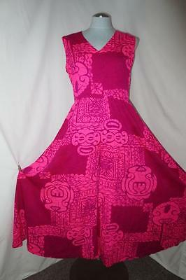 ad4299d63a5 Vtg Extra Wide Palazzo Hawaiian Jumpsuit by Marjorie Hamilton Pink Magenta  Tapa