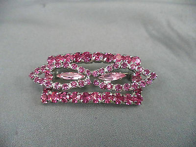 Spectacular Vintage Two Tone Pink Rhinestone Brooch Pin Art Deco Inspired Beauty