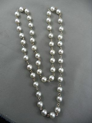 """Vintage Goldtone 12""""  Necklace Faux Pearl Beads Linked"""