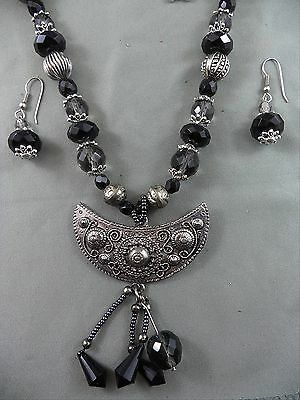 Unique Artisan Modern Necklace Earring Set Glass Beads Etruscan Moon Pendant