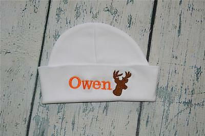 230748e69dc7e PERSONALIZED Baby Hat Monogram w  Name   Hunting Buck Infant Beanie Cap  Newborn
