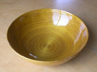 """Large Vintage Japanese Golden Lacquer Bowl with beautiful grain on display 11+ """""""