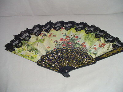 "Hand Fan Material Lace Plastic Geisha Or Japanese Lady Flowers 9.5"" Long"